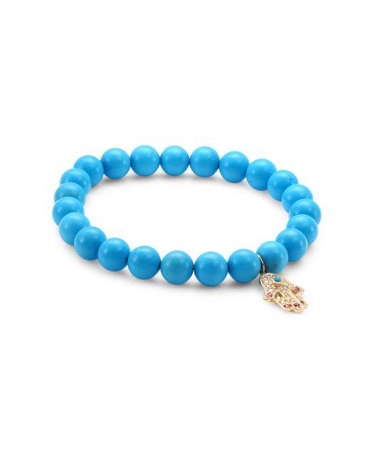Sydney Evan | Blue Medium Hamsa Diamond, Ruby & Turquoise Beaded Bracelet | Lyst