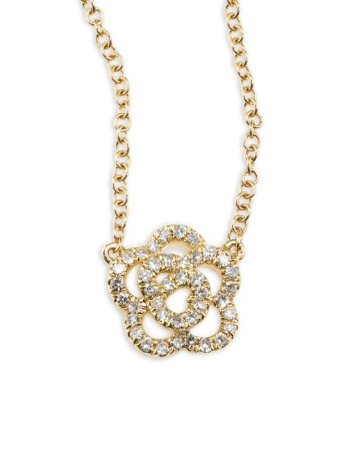 EF Collection | Metallic Rose Diamond & 14k Yellow Gold Pendant Necklace | Lyst