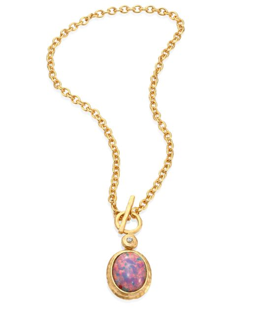 Kenneth Jay Lane | Metallic Pink Opal & Crystal Toggle Pendant Necklace | Lyst