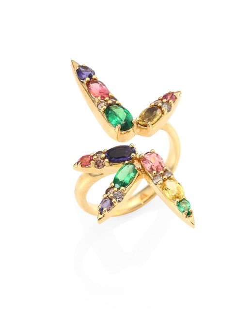 Nikos Koulis - Metallic Spectrum Brown Diamond, Tsavorite, Iolite, Pink Tourmaline, Yellow Beryls & Rhodolite Ring - Lyst