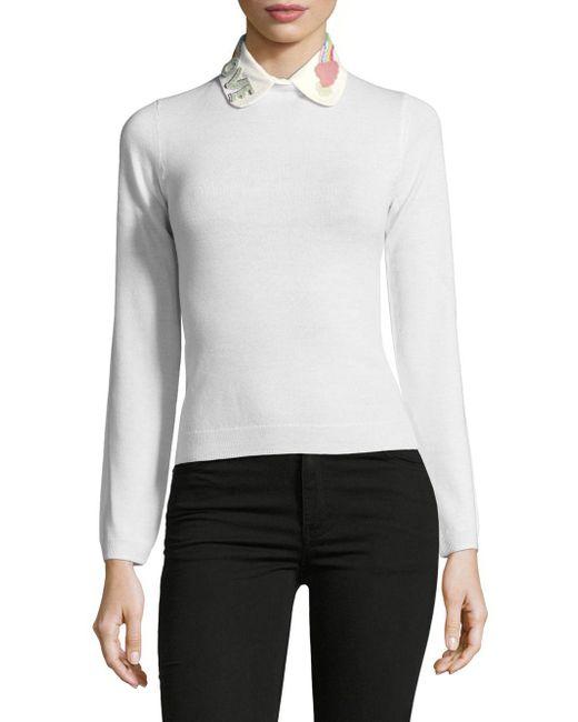 Valentino | White Love Embroidered Collar | Lyst