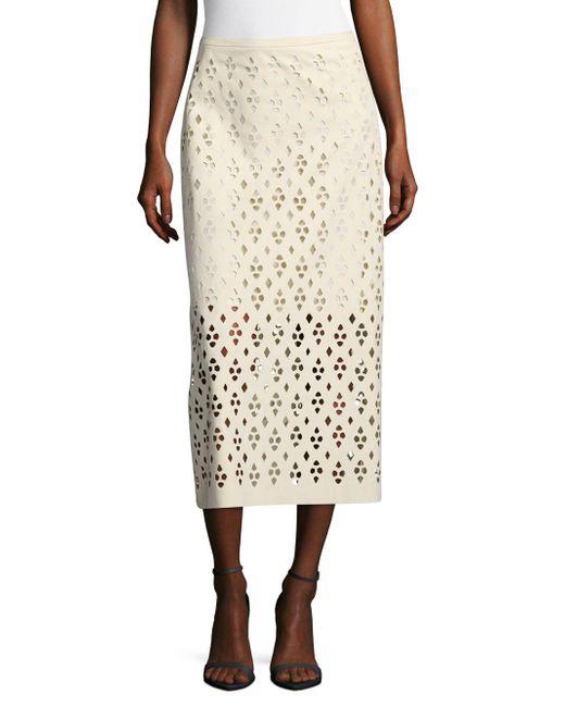 Tibi | White Cutout Zippered Skirt | Lyst