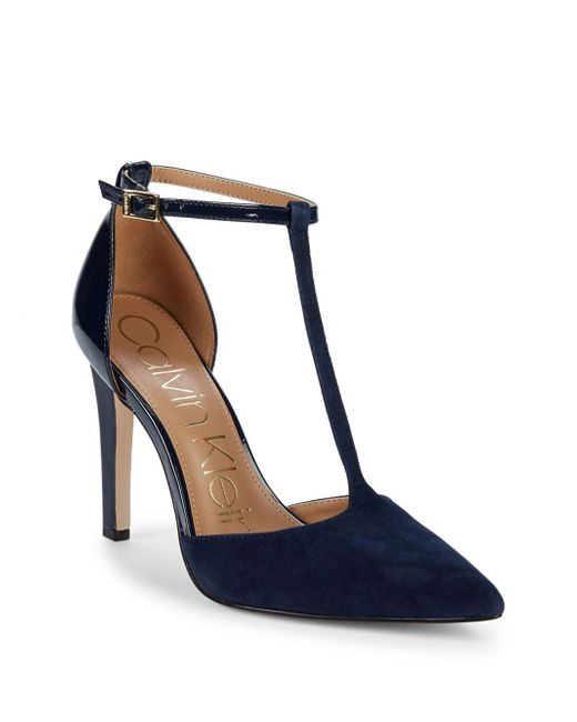 "Calvin Klein - Blue Patent Leather & Suede Ankle-strap Pumps/3.75"" - Lyst"
