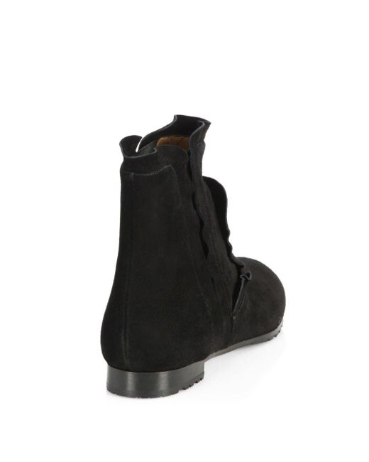 Aquazzura Suede Leather Flat Booties jsTV9SU