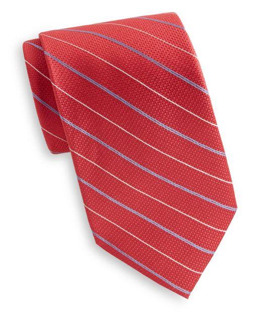 Saks Fifth Avenue | Red Pinstripe Silk Tie for Men | Lyst