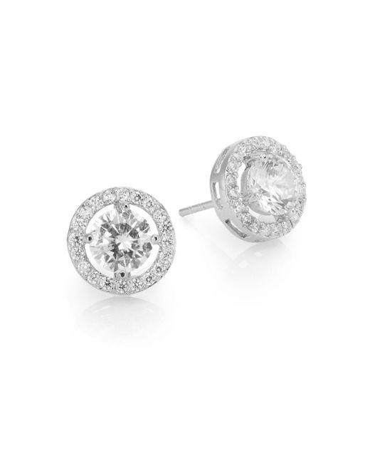 Ak Anne Klein | Metallic Sterling Silver Pavé Halo Stud Earrings | Lyst