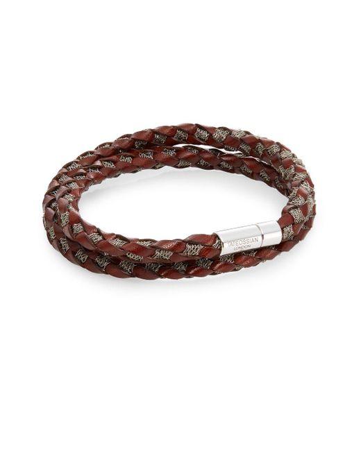 Tateossian | Brown Pop Steel Medium Woven Leather & Steel Wrap Bracelet for Men | Lyst