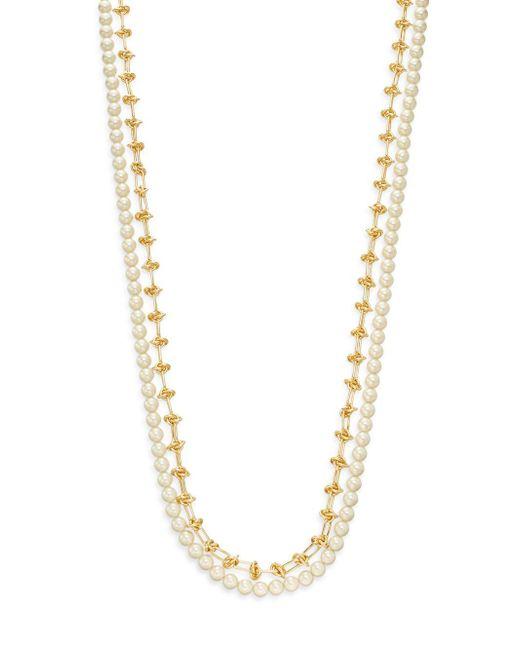 Rebecca Minkoff | Metallic Faux Pearl & Chain Necklace | Lyst