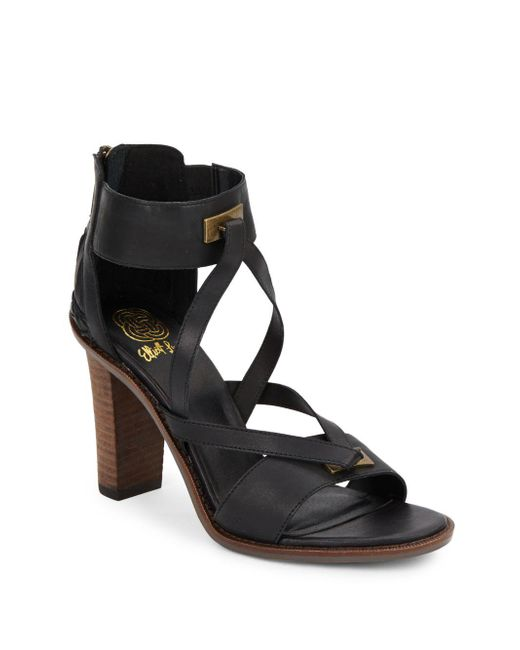Elliott Lucca | Black Leather Ankle Cuff Sandals | Lyst