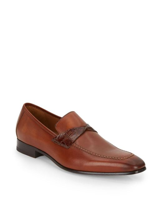 Mezlan | Brown Crocodile Strap Leather Loafers for Men | Lyst