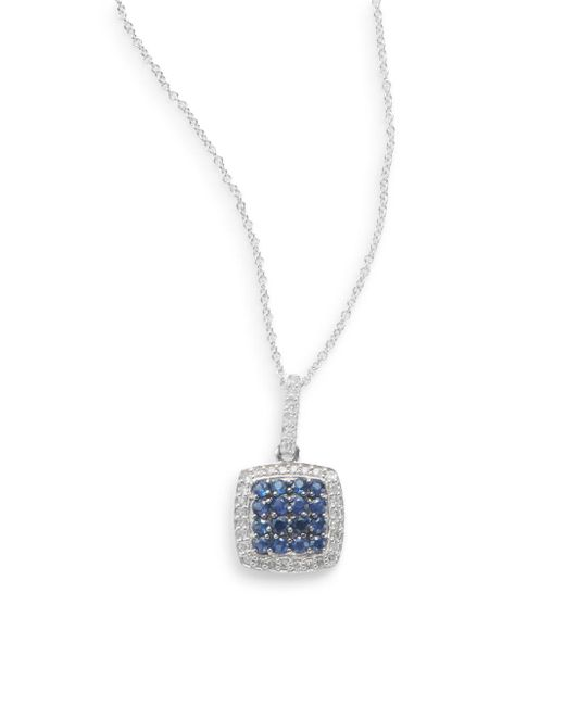 Effy | Blue Final Call Sapphire, Diamond & 14k White Gold Cushion Pendant Necklace | Lyst