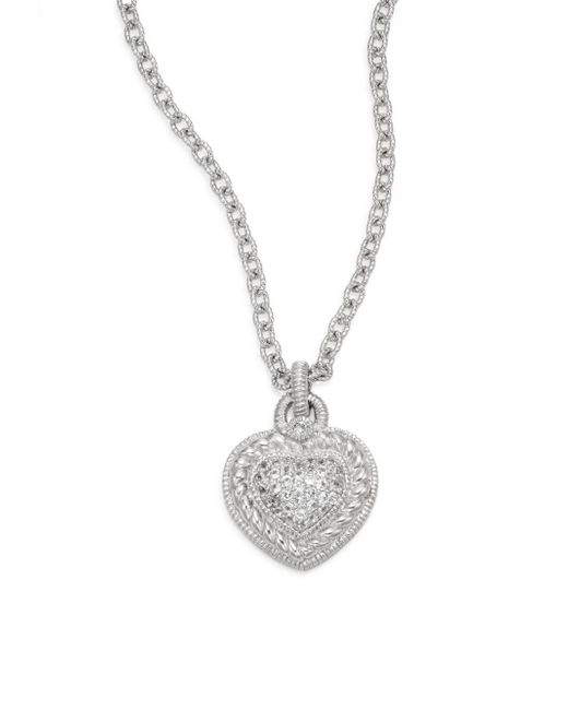 Judith Ripka | Metallic Fontaine White Sapphire & Sterling Silver Pavà Heart Necklace | Lyst