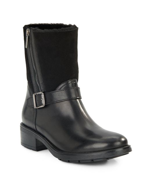 Aquatalia | Black Shearling-trim Ankle Boots | Lyst