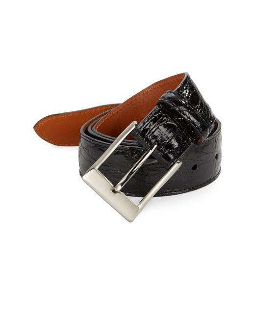 Saks Fifth Avenue | Black Genuine Crocodile Belt & Keychain Gift Set | Lyst