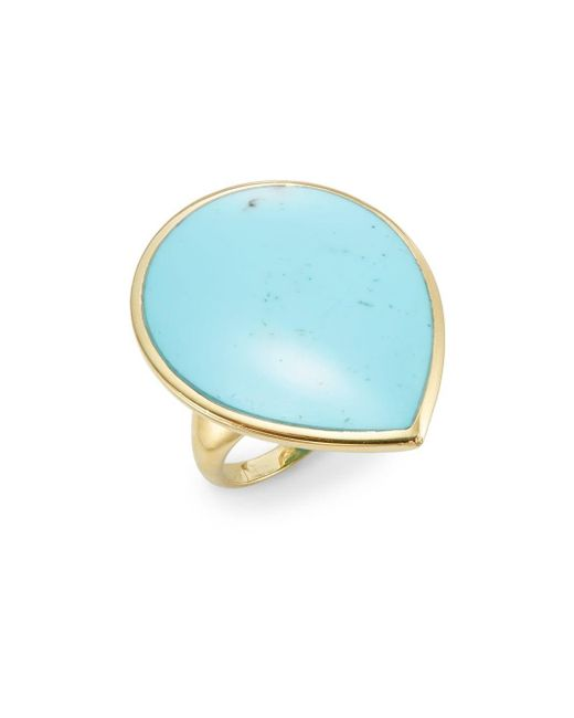 Ippolita | Blue Polished Rock Candy Turquoise & 18k Yellow Gold Teardrop Ring | Lyst