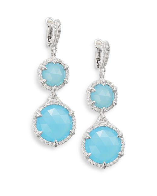 Judith Ripka   Blue Eclipse Aqua Chalcedony, White Sapphire & Sterling Silver Drop Earrings   Lyst