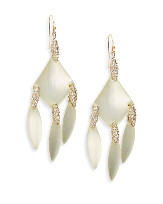 Alexis Bittar | Metallic Swarovski Crystal Triple Marquis Drop Earrings/goldtone | Lyst