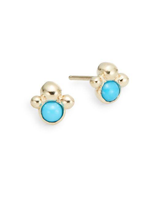 Anzie   Metallic Dew Drop Turquoise & 14k Yellow Gold Stud Earrings   Lyst