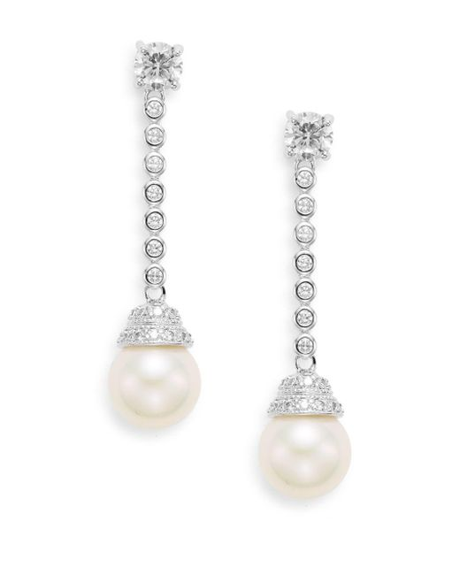 CZ by Kenneth Jay Lane | Metallic 8mm White Round Freshwater Pearl Drop Earrings | Lyst