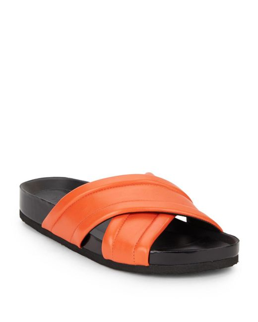 Vince   Red Orson Crisscrossed Leather Sandals   Lyst