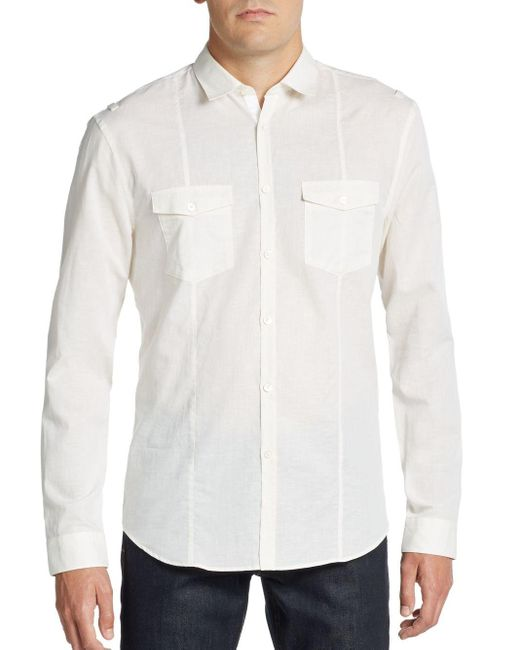John Varvatos | White Regular-fit Cotton & Linen Sportshirt for Men | Lyst