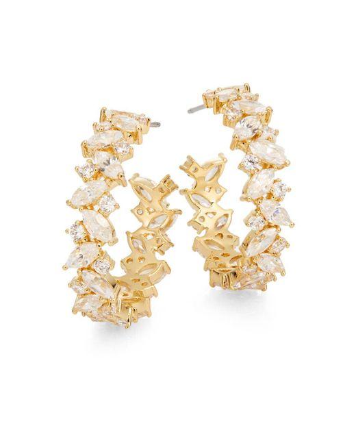 Adriana Orsini   Metallic On The Rocks White Stone Hoop Earrings/goldtone   Lyst