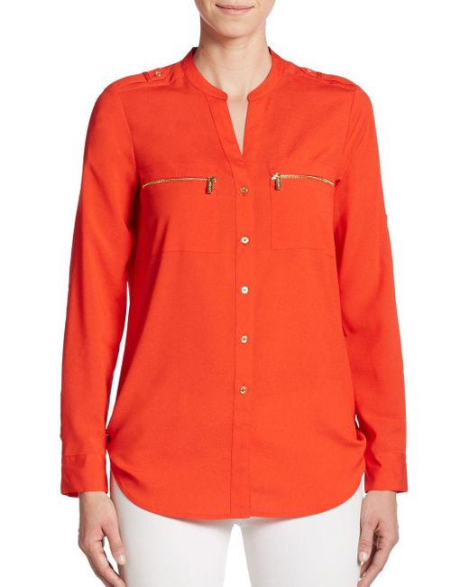 Calvin Klein | Red Roll-sleeve Blouse | Lyst