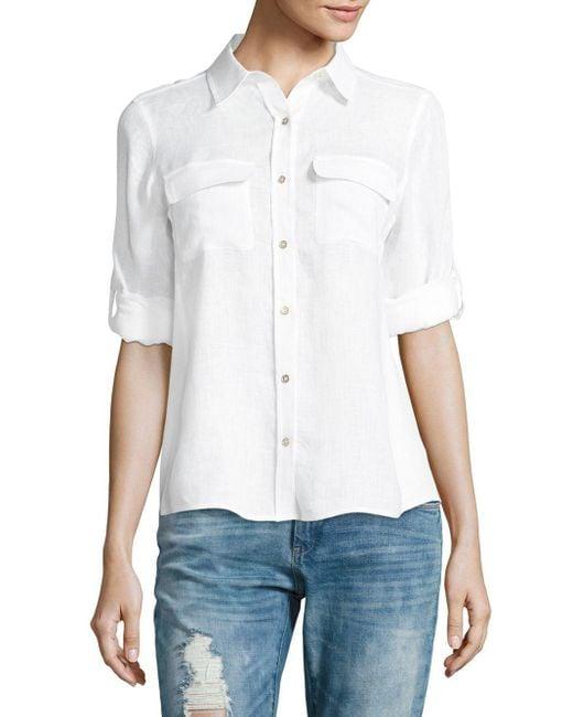 Calvin Klein | White Linen Roll Sleeve Blouse | Lyst