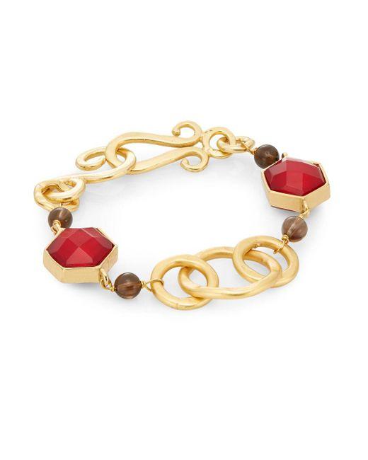 Stephanie Kantis | Metallic Nobility Crimson Red Crystal & Smoky Topaz Bracelet | Lyst