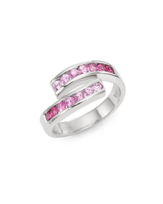 Effy   Final Call Pink Sapphire & 14k White Gold Asymmetrical Ring   Lyst