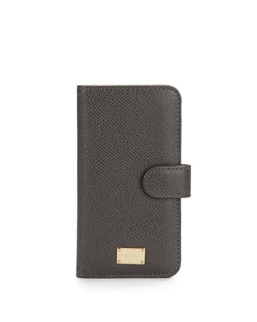Dolce & Gabbana | Gray Pebbled Leather Phone Case | Lyst