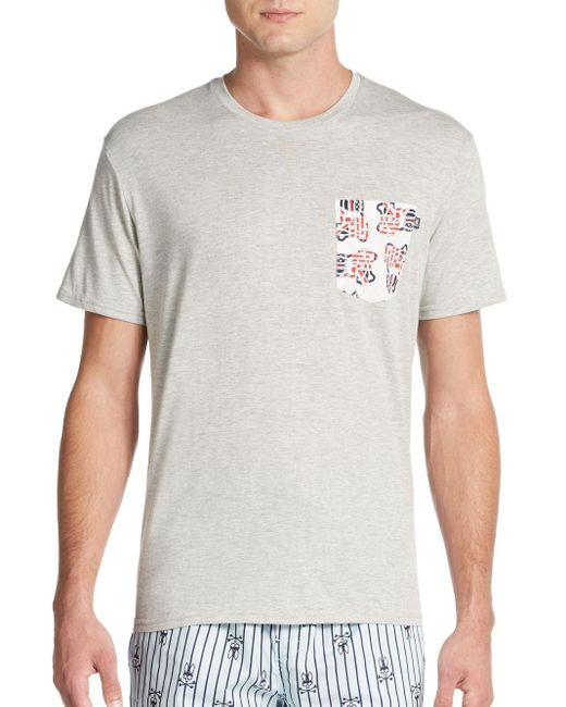 Psycho Bunny | Natural Logo Pocket Cotton Jersey Lounge Tee for Men | Lyst