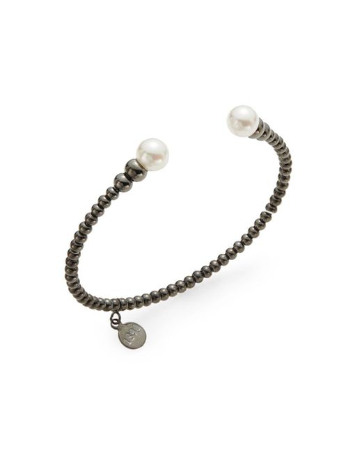 Majorica | Metallic 8mm White Pearl Beaded Cuff Bracelet | Lyst
