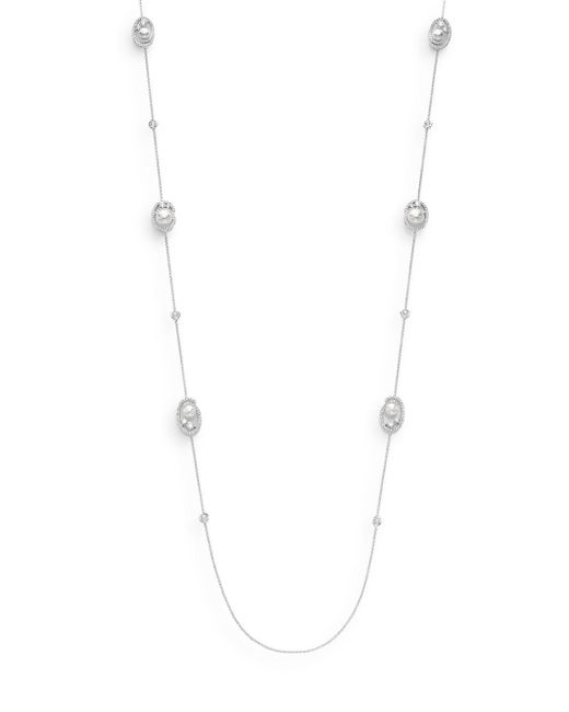 Adriana Orsini | Metallic White Stone Nested Pearl Necklace | Lyst