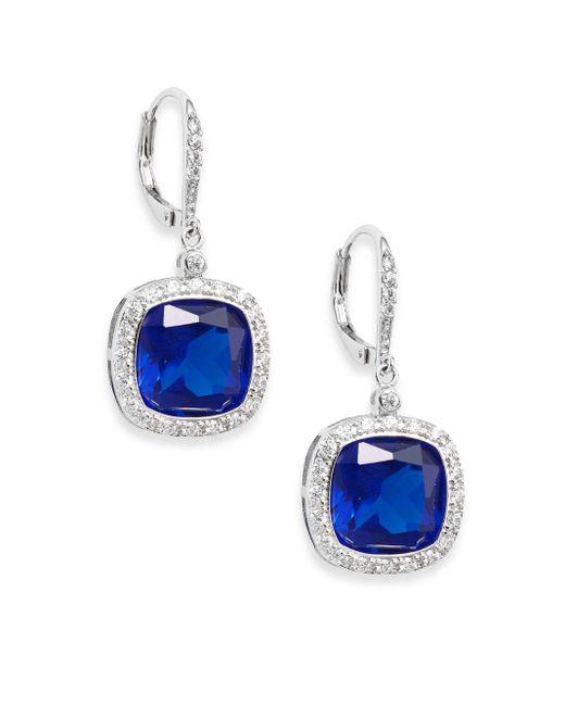 CZ by Kenneth Jay Lane   Blue Bordered Cushion-cut Stone Drop Earrings/silvertone   Lyst