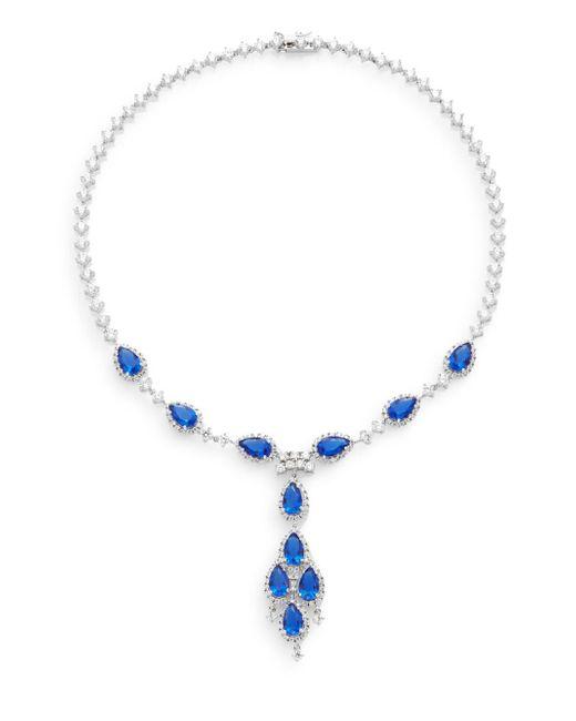 CZ by Kenneth Jay Lane | Blue Classic Pear Stone Y-necklace/silvertone | Lyst