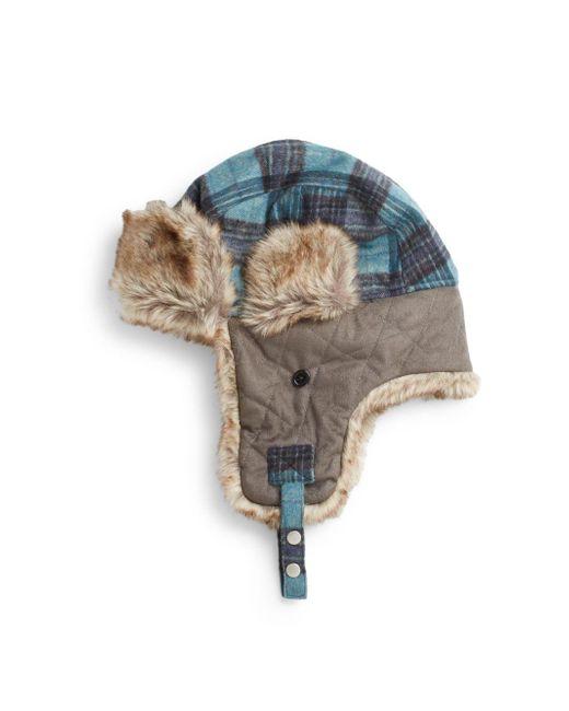Block Headwear | Blue Faux Fur-accented Trapper Hat | Lyst