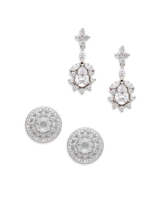 Adriana Orsini | Metallic White Stone Stud & Drop Earring Gift Box Set/silvertone | Lyst