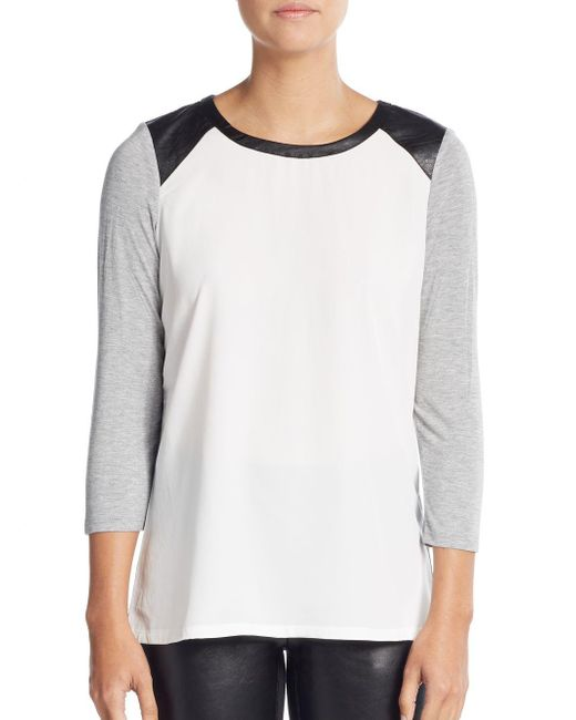 NYDJ | Gray Colorblock Leather-inset Tee | Lyst