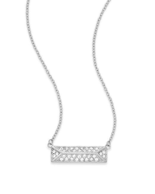 Rebecca Minkoff | Metallic Jewel Box Rectangle Pendant Necklace/silvertone | Lyst