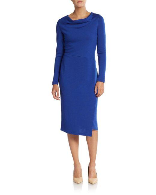 Lafayette 148 New York   Blue Cowlneck Wool Sheath Dress   Lyst