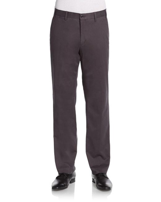 Saks Fifth Avenue | Gray Stretch-cotton Pants for Men | Lyst