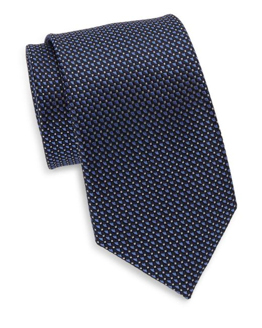Saks Fifth Avenue | Blue Mini Diamond Silk Tie & Gift Box for Men | Lyst