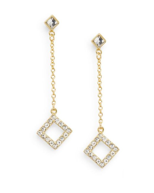 Saks Fifth Avenue | Metallic White Stone Diamond Drop Earrings/goldtone | Lyst