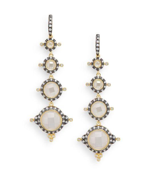 Freida Rothman | Metallic Pavé Crown Station Drop Earrings | Lyst