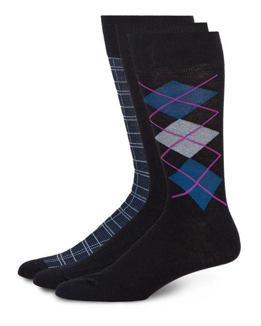 Saks Fifth Avenue | Blue Agryle Cotton-blend Socks/3-pack for Men | Lyst
