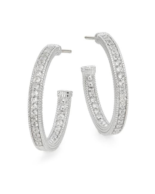 Judith Ripka | Metallic Estate White Sapphire & Sterling Silver Hoop Earrings | Lyst