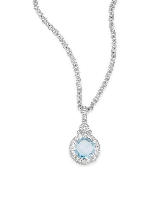 Judith Ripka | Metallic La Petite Blue Topaz, White Sapphire & Sterling Silver Pendant Necklace | Lyst