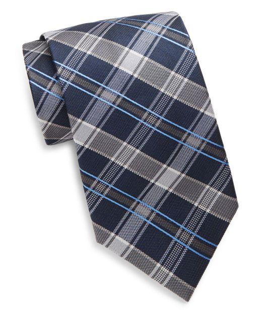 Saks Fifth Avenue | Blue Two-tone Plaid Silk Tie for Men | Lyst