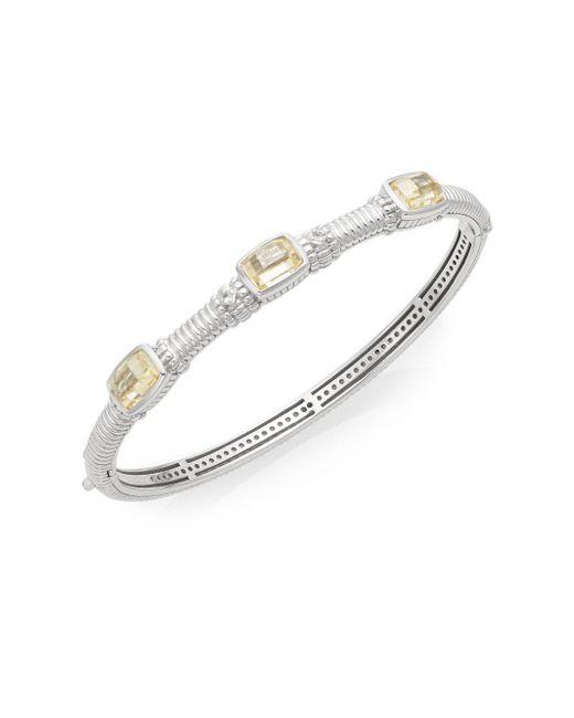 Judith Ripka | Metallic White Sapphire & Sterling Silver Tri-stone Bangle Bracelet | Lyst